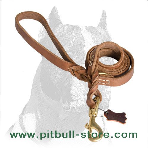 Dog leash for Pitbull of strong leather