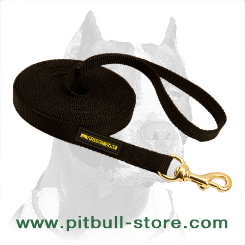 Nylon tracking dog leash for Pitbulls with brass hardware