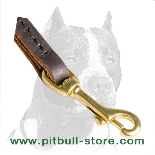 Leather dog leash for short grab with rust proof snap hook