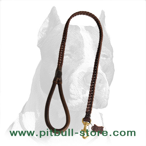 Genuine leather Pitbull dog leash, super strong and durable