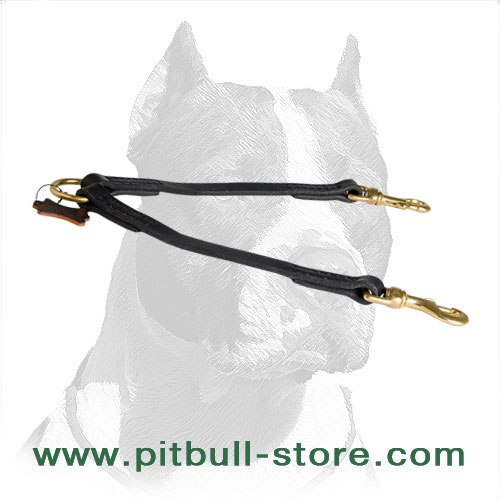 Dog coupler leash for Pitbulls made of genuine leather