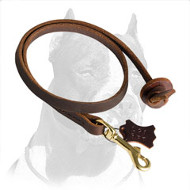 Short Leather Pitbull Dog Leash with Strong Stitches