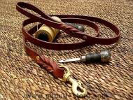 Handcrafted leather dog leash for walking and tracking 2-6 FT
