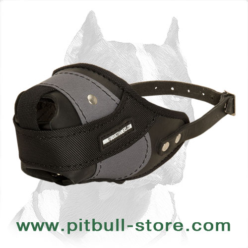 Pitbull leather muzzle nylon sufficient air flow