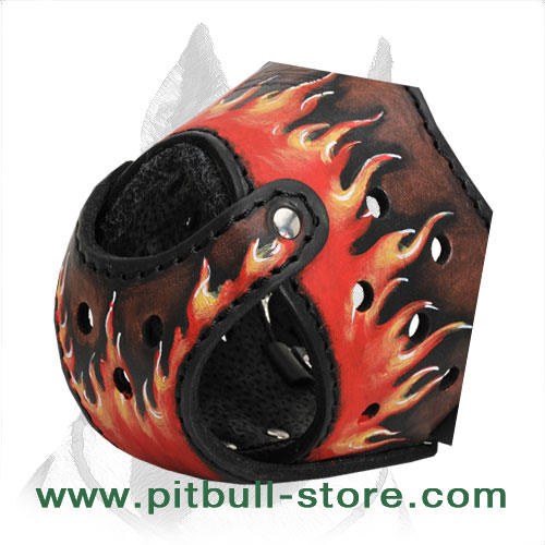 Painted in Flames Leather Muzzle for Pitbull