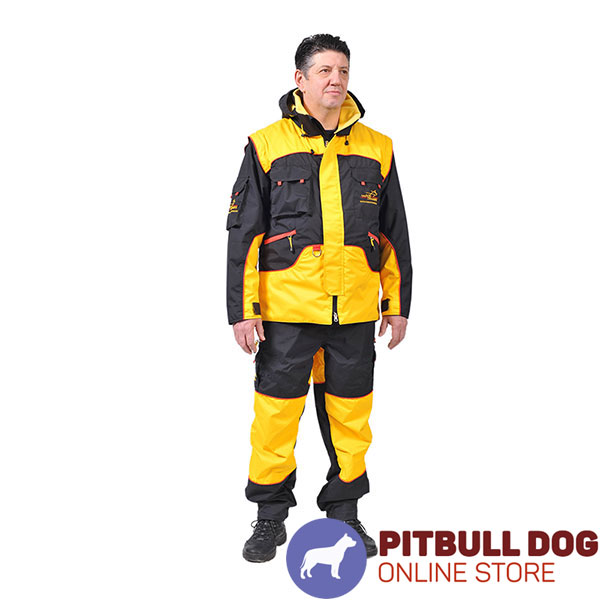 Bite Suit of Weatherproof Membrane Fabric for Training