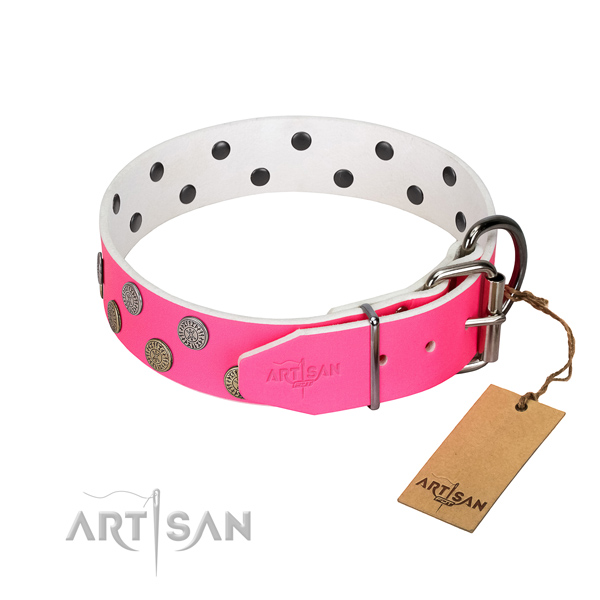 Durable traditional buckle on genuine leather dog collar for everyday use