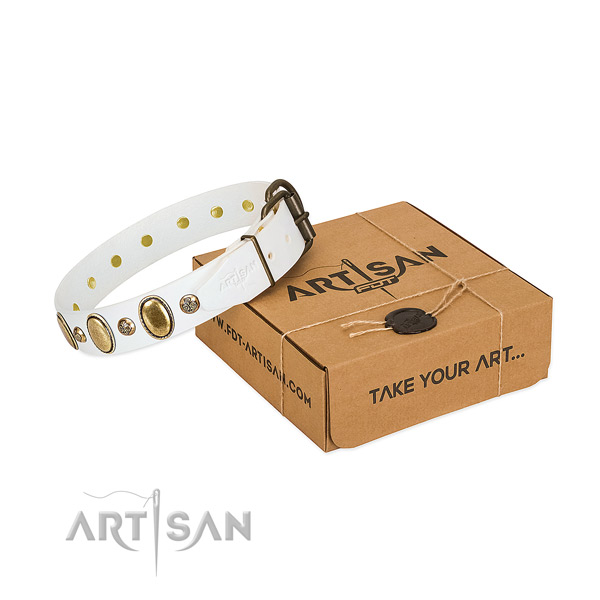 Inimitable genuine leather dog collar with corrosion proof hardware