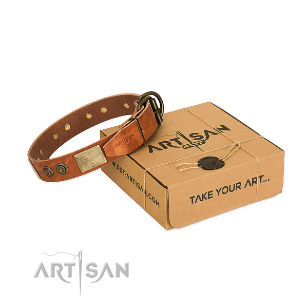 Corrosion proof D-ring on leather dog collar for comfy wearing
