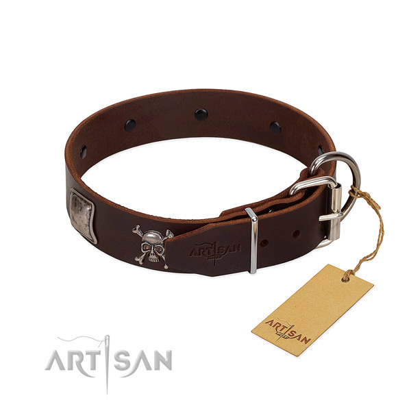 Best quality full grain genuine leather collar for your impressive four-legged friend