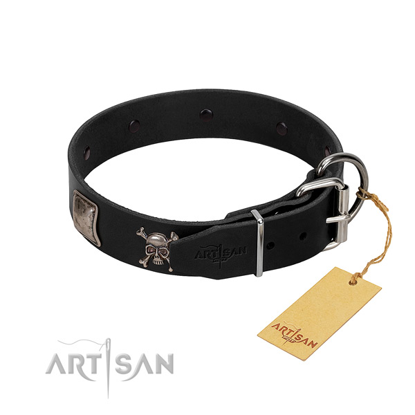 Extraordinary natural genuine leather collar for your attractive canine