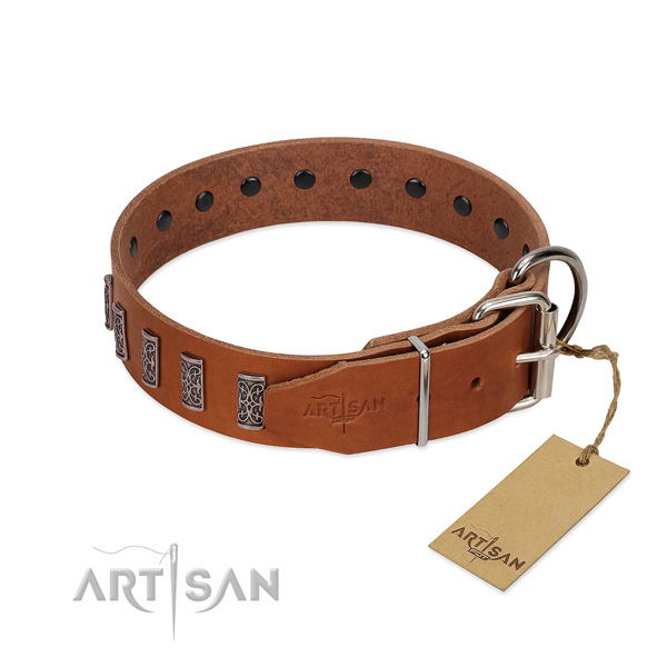 Strong hardware on genuine leather dog collar for walking your doggie