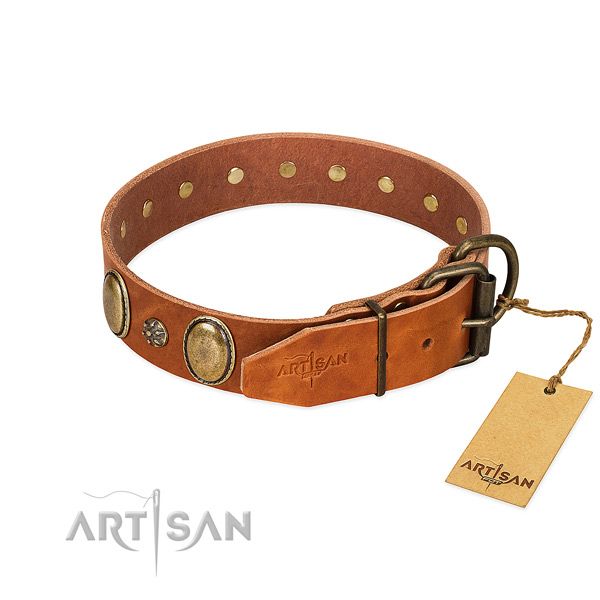 Comfy wearing soft full grain leather dog collar