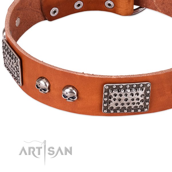 Strong studs on full grain genuine leather dog collar for your four-legged friend