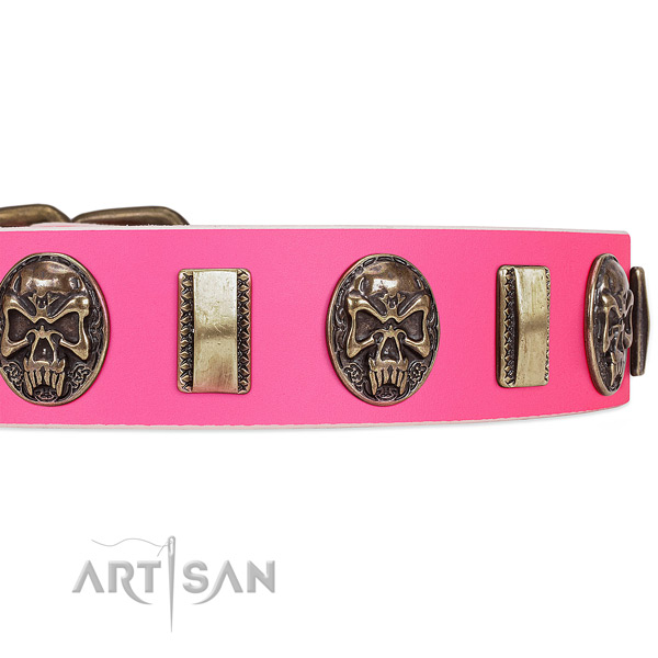 Rust-proof decorations on full grain natural leather dog collar for your pet
