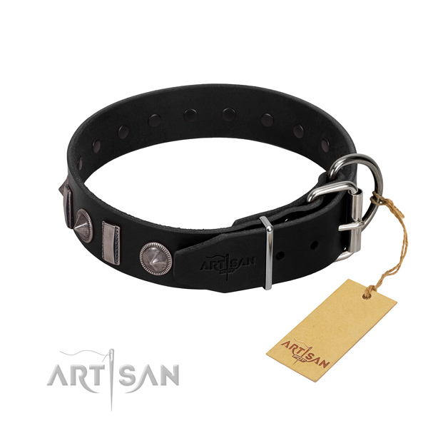 Gentle to touch genuine leather dog collar with embellishments for your stylish pet