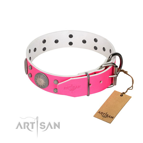 Handy use studded natural leather dog collar