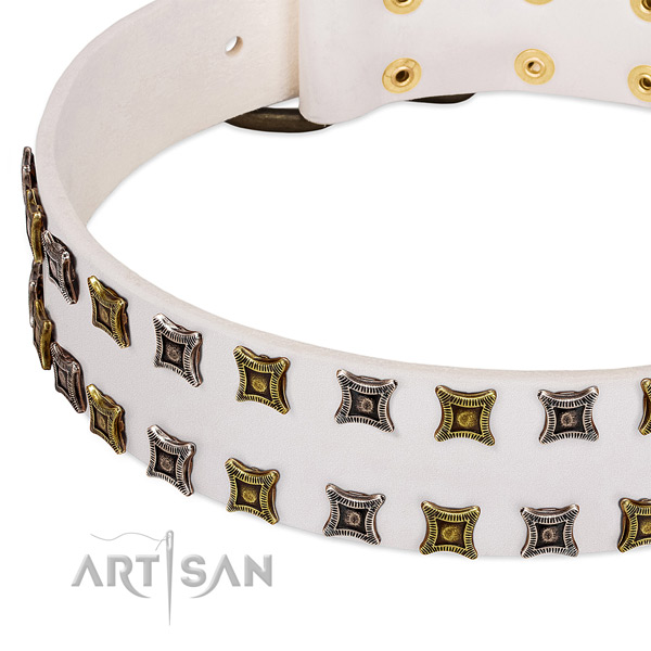 Soft genuine leather dog collar for your lovely canine