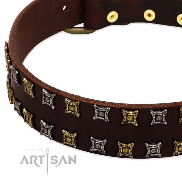 Best quality full grain leather dog collar for your attractive dog