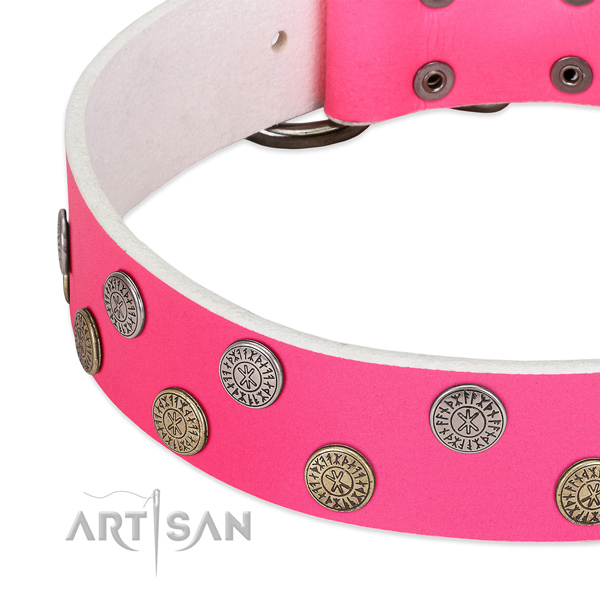 Flexible genuine leather dog collar with decorations for comfortable wearing