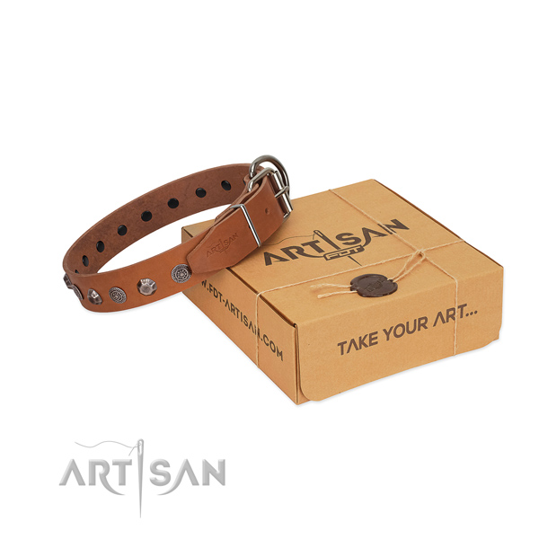 Soft natural leather collar with adornments for your pet