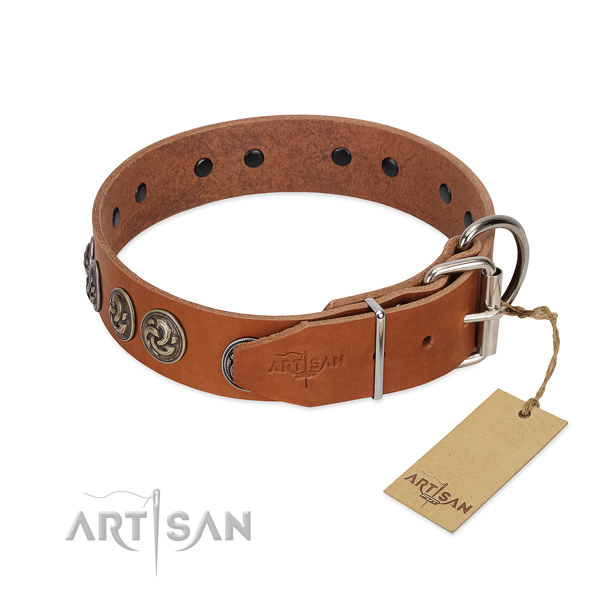 Corrosion resistant D-ring on stylish genuine leather dog collar