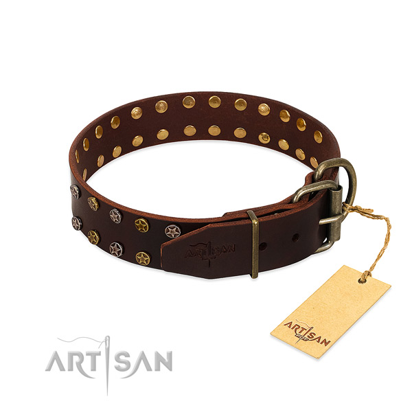 Comfortable wearing full grain natural leather dog collar with trendy embellishments