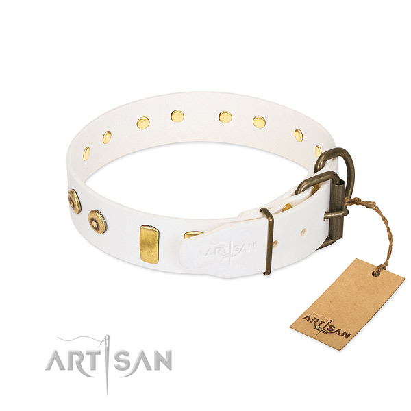 Inimitable studded full grain genuine leather dog collar of gentle to touch material