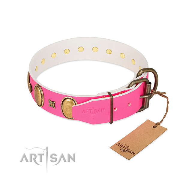 Strong full grain genuine leather collar handcrafted for your four-legged friend