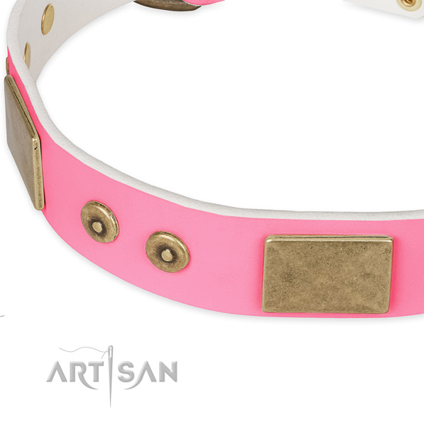 Genuine leather dog collar with decorations for stylish walking