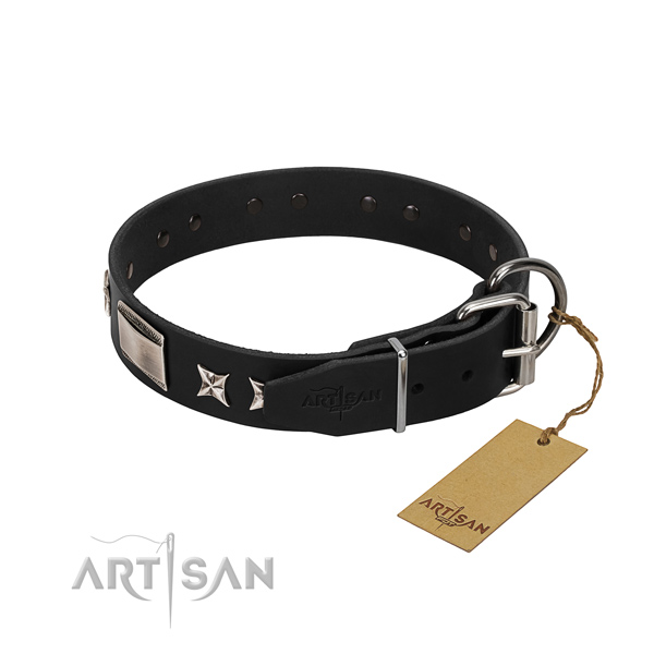 Gentle to touch leather dog collar with corrosion resistant fittings