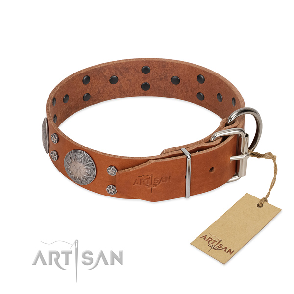 Rust resistant hardware on genuine leather dog collar for comfortable wearing