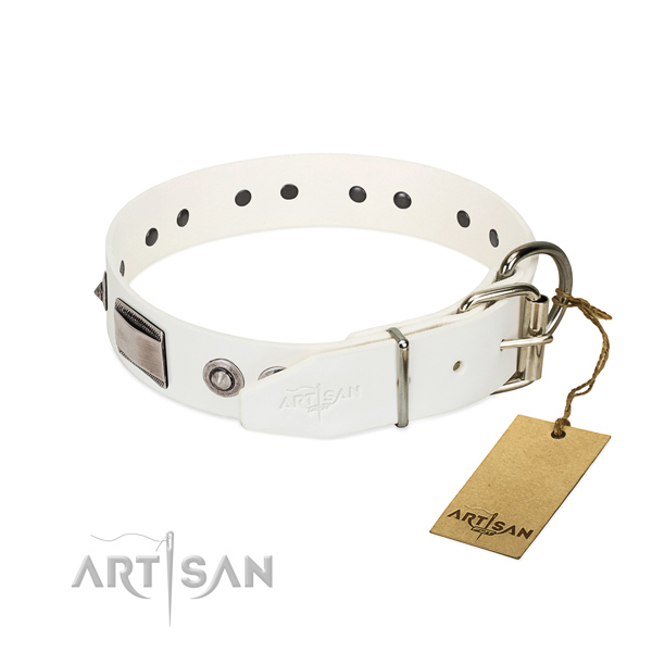 Convenient dog collar of full grain genuine leather with adornments