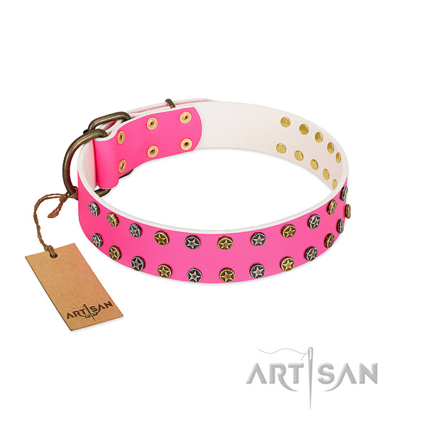 Top rate natural leather collar with embellishments for your four-legged friend