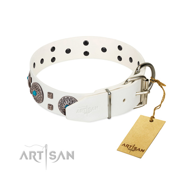 Reliable full grain genuine leather dog collar with decorations for comfy wearing