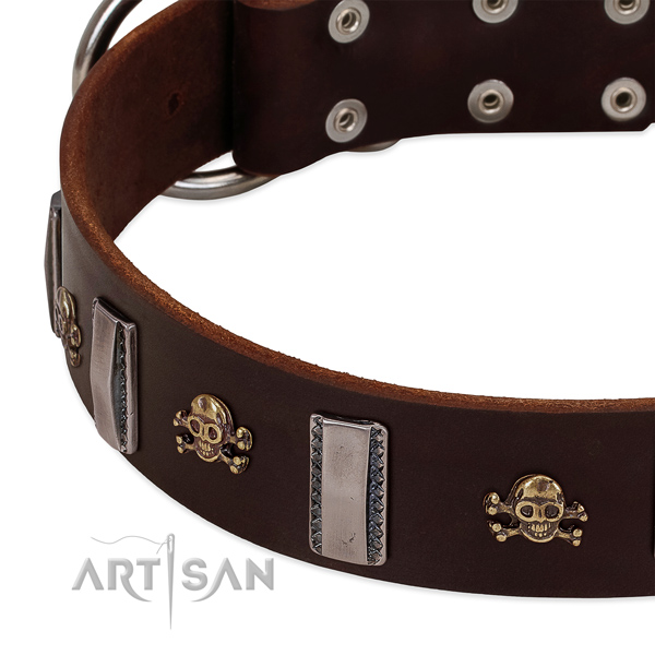 Fashionable full grain natural leather collar with studs for your dog