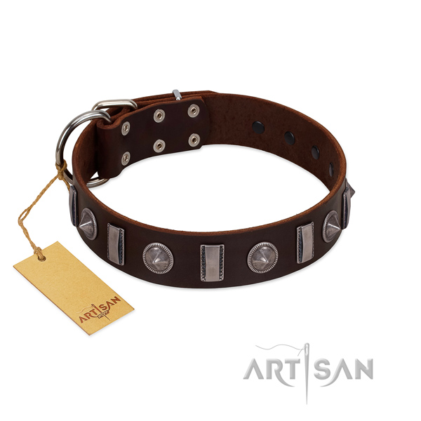 Soft natural leather dog collar with decorations for comfortable wearing