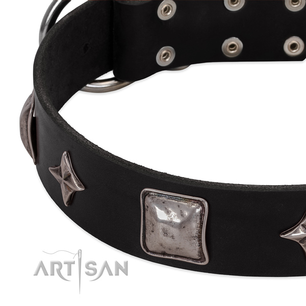 Exquisite studded genuine leather dog collar for easy wearing