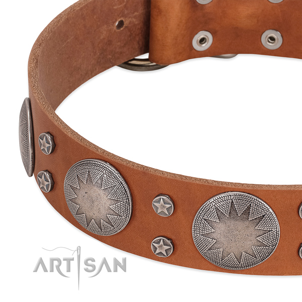 Soft leather dog collar with strong D-ring
