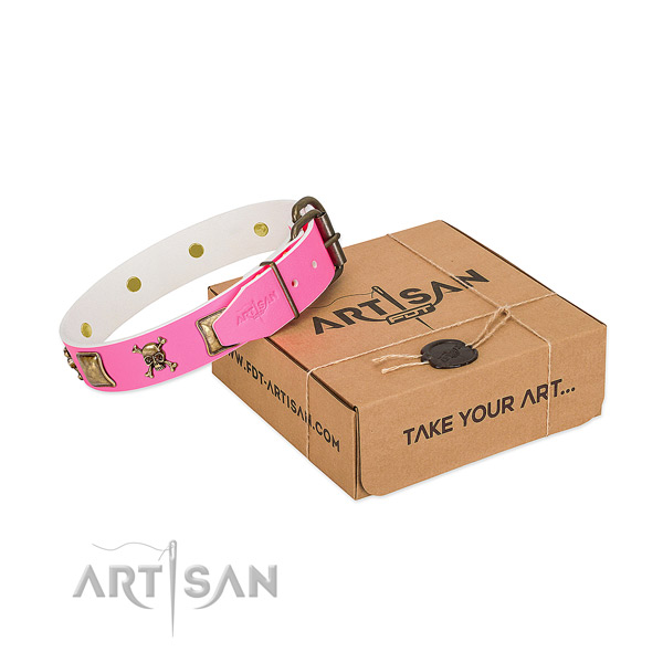 Reliable full grain natural leather dog collar with trendy decorations