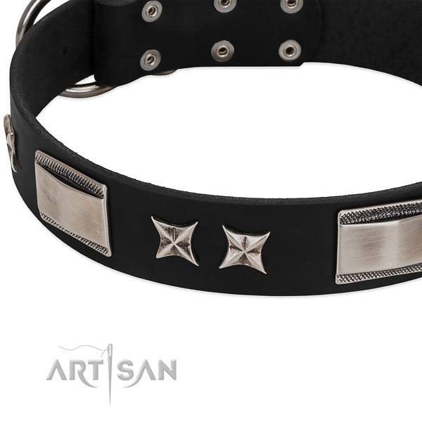 High quality natural leather dog collar with corrosion resistant hardware