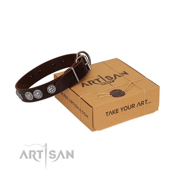 Top notch natural genuine leather collar for your doggie stylish walks