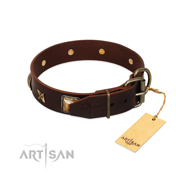 Natural genuine leather dog collar with strong traditional buckle and decorations