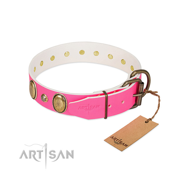 Easy wearing best quality full grain leather dog collar