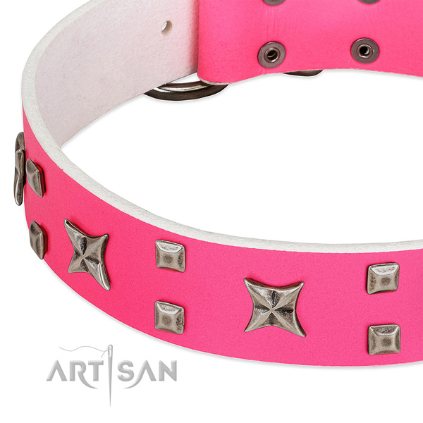 Inimitable leather collar for your pet stylish walking