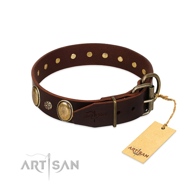 Daily walking best quality full grain genuine leather dog collar