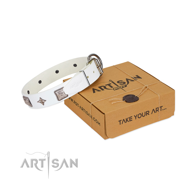 Reliable natural leather dog collar with decorations for daily use