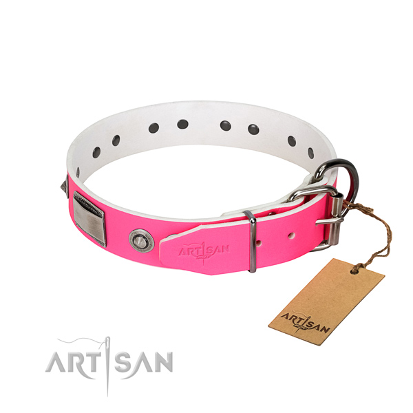 Unique full grain genuine leather collar with studs for your doggie