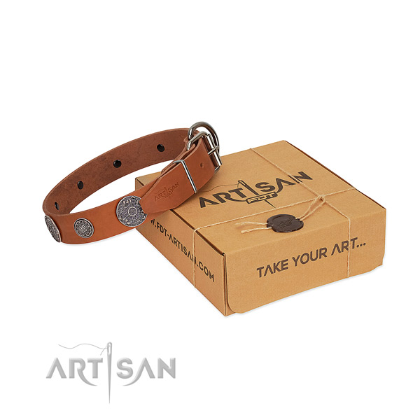 Perfect fit dog collar of genuine leather