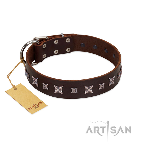 Gentle to touch full grain genuine leather dog collar with stunning studs